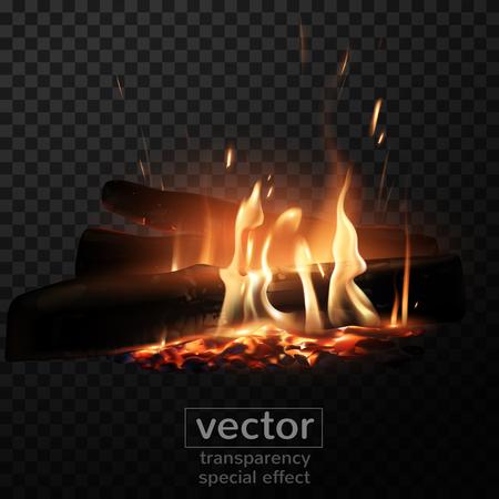 Feu brûlant sur le bois avec effet de fumée transparente sur fond quadrillé. Illustration très réaliste.