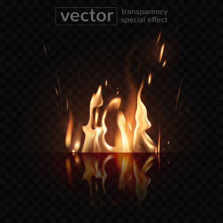 Burning fire and its glowing reflection on the surface  with the effect of transparent smoke on a checkered background. Highly realistic illustration.