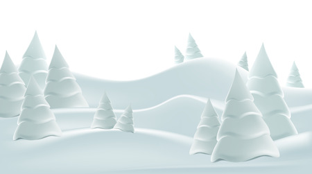 Winter foggy landscape with snow-covered hills and fir-trees. Freehand drawing.