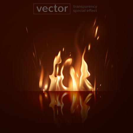 Burning fire and its glowing reflection on the surface  with the effect of transparent smoke on a red  background. Highly realistic illustration.