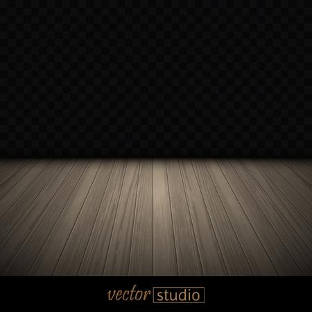 Dance studio. Illuminated wooden floor, rear dark wall.