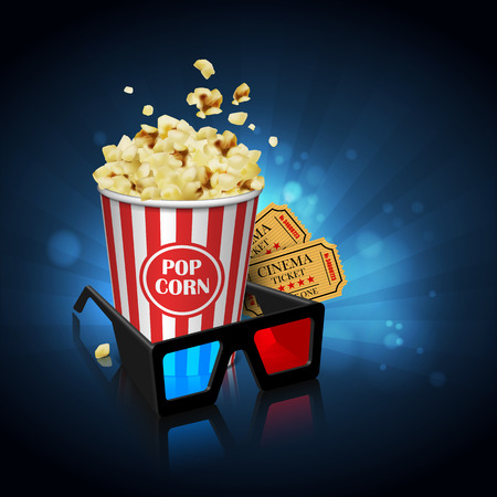 Illustration for the film industry. Glasses, popcorn and tickets  on a reflective surface on a background with highlights. Highly detailed illustration