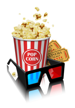 Illustration for the film industry. Glasses, popcorn and tickets  on a reflective surface on a white background . Highly detailed illustration