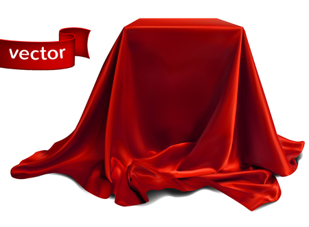 Red silk fabric, beautifully draped on the podium, on a white background. Highly realistic illustration.