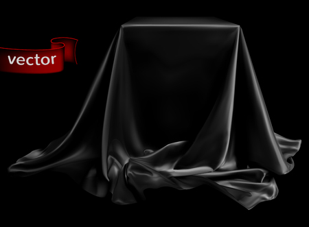 Black silk with shimmering, beautifully draped on the podium, on a deep black background. Highly realistic illustration. Vettoriali