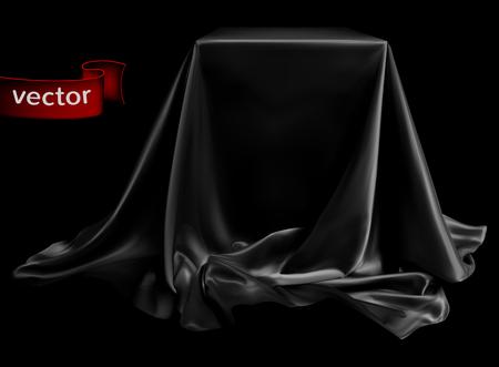 Seda negra con brillantes, bellamente drapeada en el podio, sobre un fondo negro profundo. Ilustración muy realista.