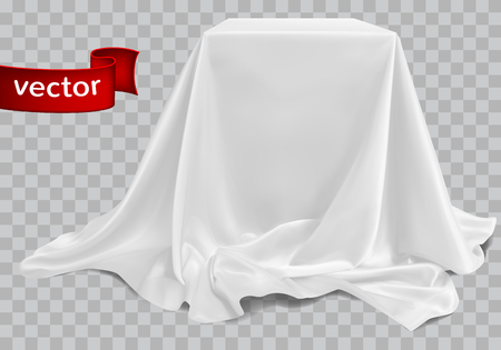 White silk fabric, beautifully draped on the podium, on a white  checkered background. Highly realistic illustration.