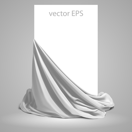 Beautifully draped white silk on a white background.  Place for your text. Highly realistic illustration.