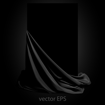 Beautifully draped black silk on a black background.  Place for your text. Highly realistic illustration.