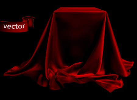 Red silk fabric, beautifully draped on the podium, on a black background. Highly realistic illustration.