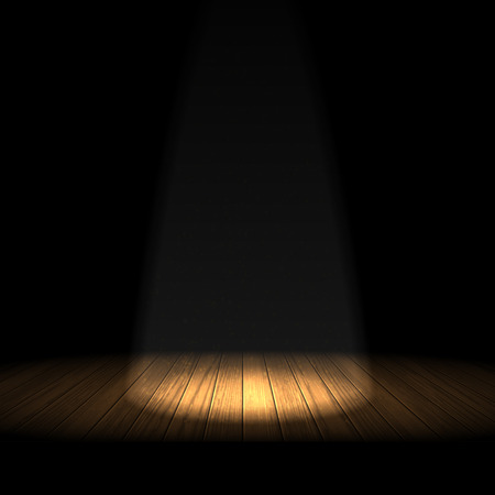 Wooden stage, illuminated by a searchlight on the black background. Ilustração