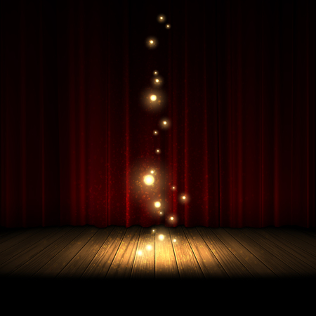 Transparent light with bright highlights illuminates part of the wooden scene on the background of a red curtain.