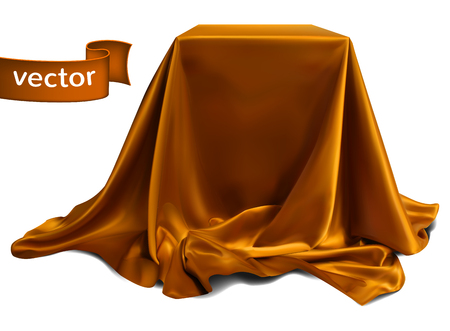 Brown silk fabric, beautifully draped on the podium, on a white background. Highly realistic illustration.
