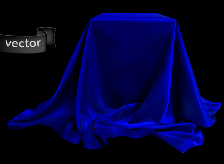 Blue silk fabric, beautifully draped on the podium, on a black background. Highly realistic illustration. Stock Illustratie