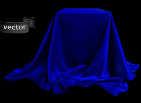 Tissu de soie bleu, joliment drapé sur le podium, sur fond noir. Illustration très réaliste.