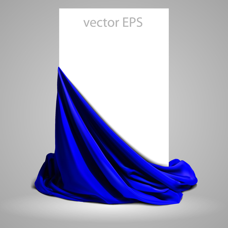 Beautifully draped blue silk on a white background.  Place for your text. Highly realistic illustration. Stock Illustratie