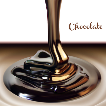 Chocolate advertising design.  A glossy stream of chocolate. High detailed realistic illustration