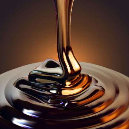 El chorro brillante de chocolate fluye hacia la superficie y se congela en hermosas olas.Ilustración realista de alto nivel detallado Ilustración de vector