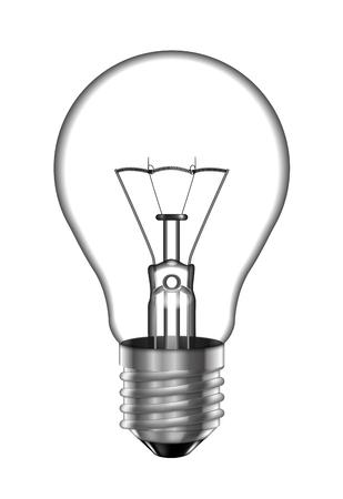 Ampoule transparente sur fond blanc. Illustration très réaliste.