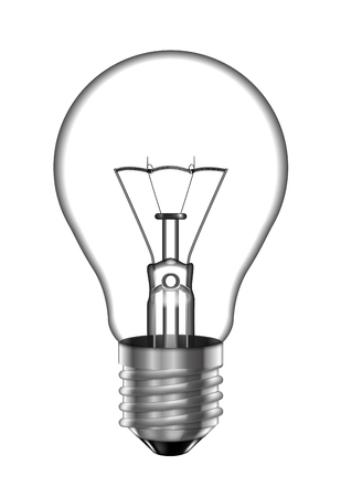 Transparent light bulb on a white background. Highly realistic illustration.
