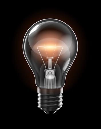 Ampoule rougeoyante transparente avec un filament jaune d'incandescence sur fond noir.