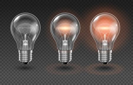 Tres bombillas transparentes, una de las cuales está apagada, mientras que las otras se encienden con diferente brillo sobre un fondo transparente.