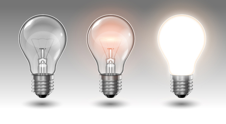Three transparent light bulbs, one of which is off, while the others are lit with different brightness on a light background