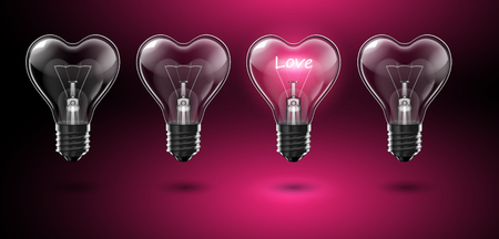 A set of four transparent heart-shaped bulbs, in one of which the word Love glows in place of a tungsten filament. Highly realistic illustration.