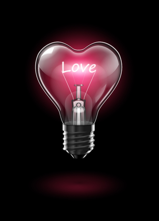 Transparent glowing heart-shaped light bulb on a dark background with the word Love instead of a tungsten filament. 向量圖像