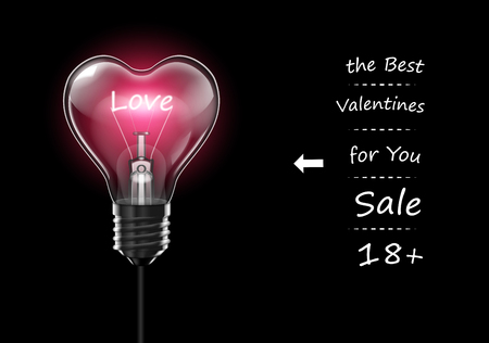 Advertising design gifts for Valentines Day. Pink heart shaped bulb with the word Love inside.