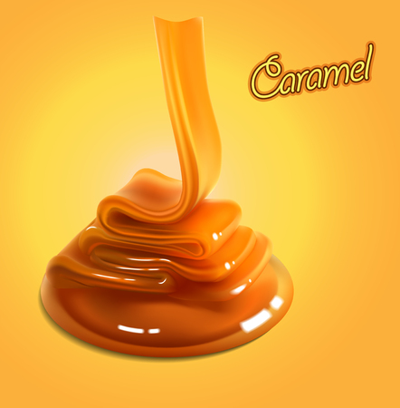 The glossy stream of caramel flows to the surface and freezes in beautiful waves.High detailed realistic illustration Illustration