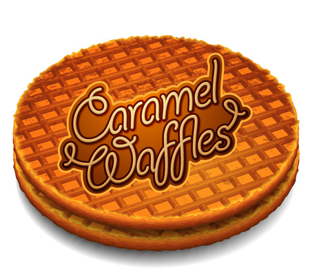 Advertising caramel waffles. Two round waffles with a corrugated surface and the inscription Caramel Waffles in the middle, white background.