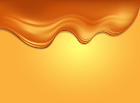 Sweet background. On the yellow surface of the influx of glossy golden caramel.