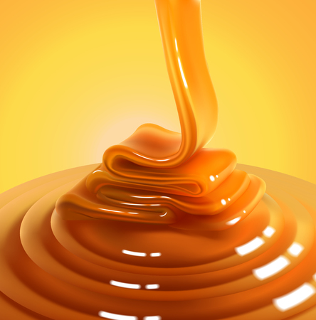 The glossy stream of caramel flows to the surface and freezes in beautiful waves.High detailed realistic illustration Ilustração