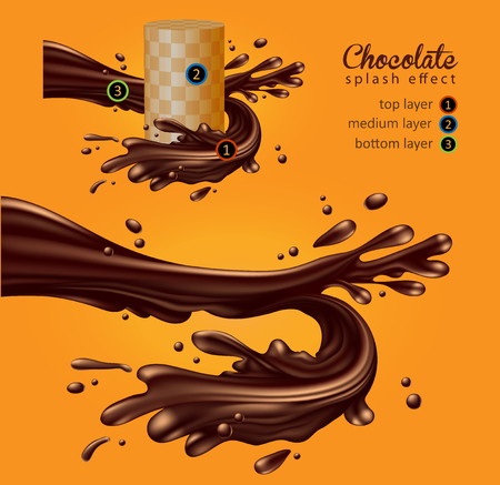 Chocolate advertising design. The dynamic movement of melted chocolate with drops on a yellow background. High detailed realistic illustration