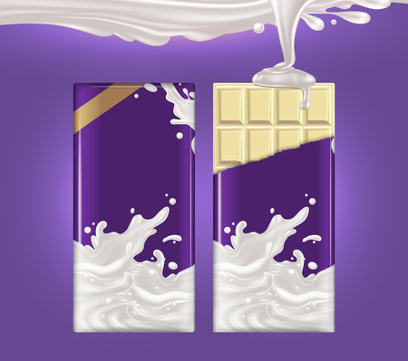 Two tiles of white chocolate on a purple background. The packaging on one of the chocolates is torn and a jet of milk is pouring on it. Illustration