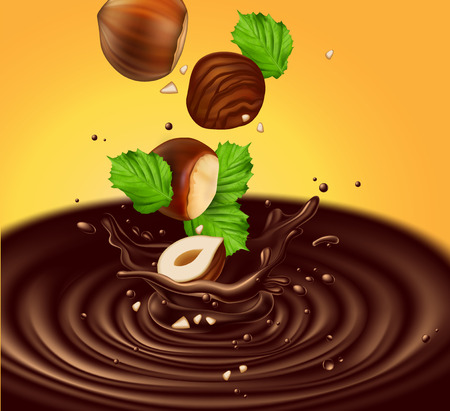 Hazelnuts with leaves fall into liquid chocolate. Splash effect 3D vector. High detailed realistic illustration