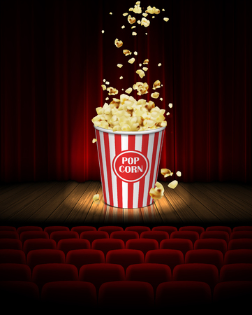 On the stage in the cinema there is a big jar of popcorn on the background of a red curtain. 3D vector. High detailed realistic illustration Ilustrace