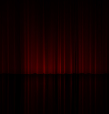Theatrical scene. A slightly highlighted red curtain is reflected in the floor.  3D vector. High detailed realistic illustration