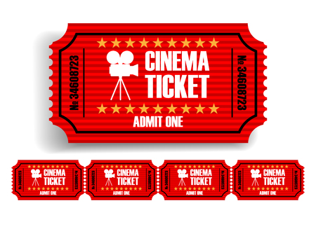Red movie tickets on a white background. 3D vector. High detailed realistic illustration