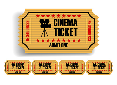 Yellow movie tickets on a white background. 3D vector. High detailed realistic illustration Ilustrace