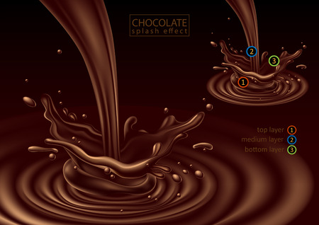 Chocolate advertising design.     3D vector. High detailed realistic illustration