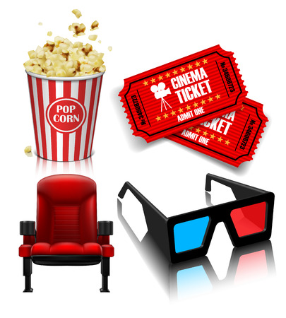 Theater chair, popcorn, tickets, glasses on the white background. 3D vector. High detailed realistic illustration