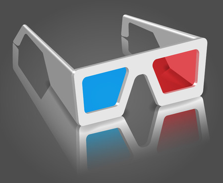 Glasses on a reflective surface.  3D vector. High detailed realistic illustration