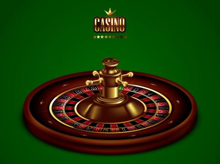 Roulette Casino on the background of green baize. 3D vector. High detailed realistic illustration.