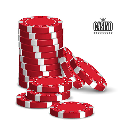 Casino advertising design with a set of red playing chips on a white background. 3D vector. High detailed realistic illustration. Ilustração