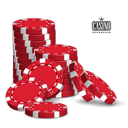Casino advertising design with a set of red playing chips on a white background. 3D vector. High detailed realistic illustration. 向量圖像