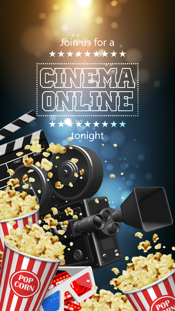 Illustration for the film industry. Popcorn, camera, glasses,  tickets and clapperboard on a background with highlights.  3D vector. High detailed realistic illustration