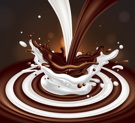 A jet of coffee and white milk merge with the splash effect.   3D vector. High detailed realistic illustration