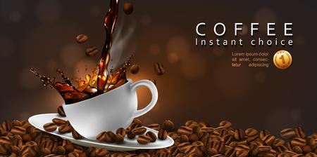 Conception de publicité de café. Grains de café, tasse de café avec effet splash et fumée transparente. vecteur 3D. Illustration réaliste très détaillée